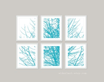 Modern Tree Branches Art Prints - Set of Six - Turquoise Blue Winter Tree Wall Art - Contemporary Branches Art - Gallery Wall - Aldari Art