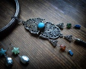 Ethnic statement necklace Indian Neck ring, vintage filigree buckle, massive Tribal afgan style Pendant and Earrings