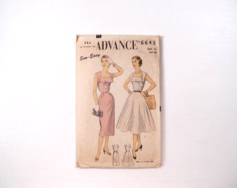1950s dress pattern / Advance 6643 Sew-Easy sewing pattern for a fit & flare or wiggle slim skirt dress