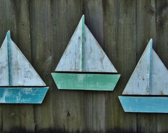 Set Of 3 Beach-y Sailboats, Coastal Living, Beach House Wall Hanging, Rustic Sun Faded