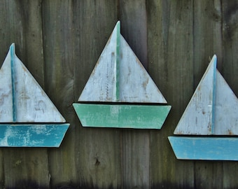 Set Of 3 Beach-y Sailboats, Coastal Living, Beach House Wall Hanging, Rustic Sun Faded