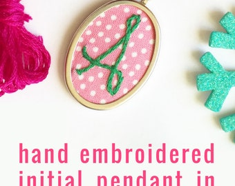 Colorful Embroidered Initial Jewelry. Monogrammed Gifts. Hand Embroidery. Personalized Jewelry. Modern Initial necklace. Monogram Pendant.