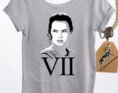 STAR WARS SHIRT Womens Slouchy, Rey in Episode vii The Force Awakens, Off-The-Shoulder Shirt in Heather Grey. Wear This Shirt Opening Night!