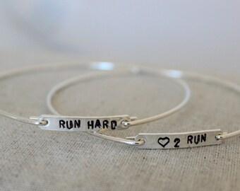 love to run sterling silver bangle, run hard bracelet, runners gift, marathon gift, gift for runner, stacking bracelets, READY TO SHIP