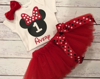 Red Minnie Mouse Tutu, Red Minnie Mouse Birthday Outfit, Minnie Outfit, Minnie Mouse Tutu, 1st Birthday Outfit
