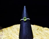 THINK GREEN SOLITAIRE sz7 - Gift For Mother, Gift For Sister, Lime Green Ring, Peridot Solitaire, Peridot Birthstone Ring, Peridot Sterling