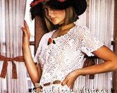 Vintage Crochet Pattern 1970s Irish Lace Peplum Blouse Crocheted Boho Top Digital Download PDF