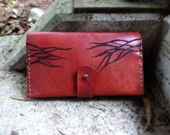 Red Leather Wallet, Credit Card Wallet, Artisan Wallet, Hand Made Wallet