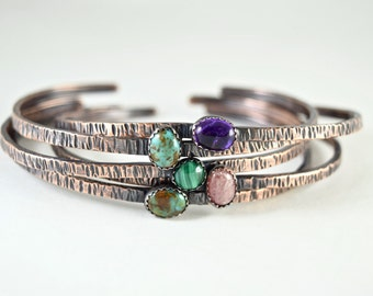 Mini Gemstone Cuff Bracelets- Texture Hammered Copper and Stone Stacking Cuffs- Sold Individually