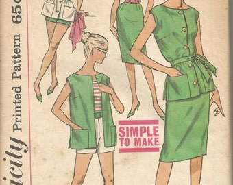 1960s Slim Skirt Square Neck Top Shorts Blouse Easy to Sew Simplicity 3937 Uncut FF Size 14 Bust 34 Women's Vintage Sewing Pattern