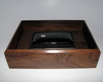 "Wooden Tray. Bolivian Rosewood Premium Valet Box. Wooden Tray Upholstered in Suede Fabric. 8.75"" x 6.5"" x 2.25""."
