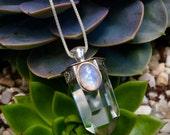 Pure Magick- Rainbow Moonstone and Quartz Necklace
