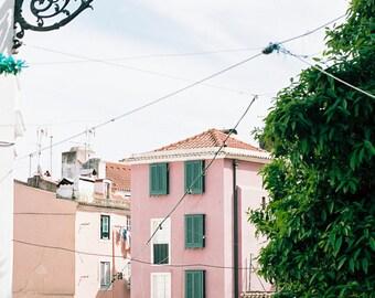 Architecture Travel Photo, Lisbon Art Print, Alfama, Travel Art Print,Romantic Decor,Purple Decor,Green Shades,Typical Neighbourhoods Lisbon