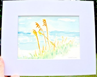 Beach cottage home decor, ORIGINAL painting beach watercolor seascape with sea oats and a sand dune, very sweet, matted 8x10