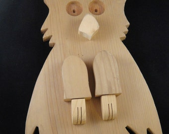 Owl Wooden With Pegs Cottonwood Treehouse