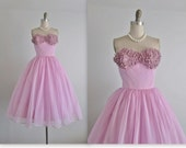 50's Prom Dress // Vintage 1950's Strapless Orchid Orchid Chiffon Applique Prom Wedding Party Dress S