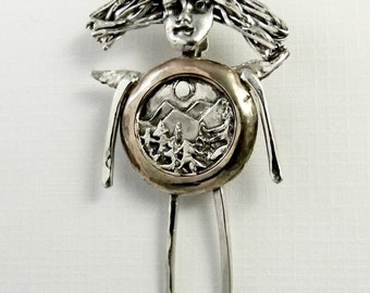 Angel Astrid Loves Nature - Up Cycled Sterling Silver, 14K GF, And PMC - Art Jewelry Pendant - 1509