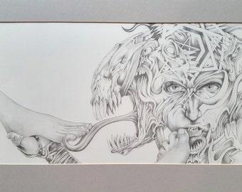 Tetragrammaton Original Erotic Foot Occult graphite Art by Dennis A!