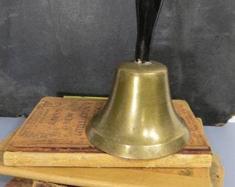 Antique Brass & Wood Teacher's Hand Bell, Indian Territory, Oklahoma, Inscribed, Historical Teacher School Collectible