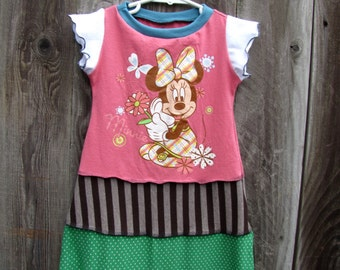 Flowers and Butterflies Upcycled Minnie Mouse Dress Size 2/ 3