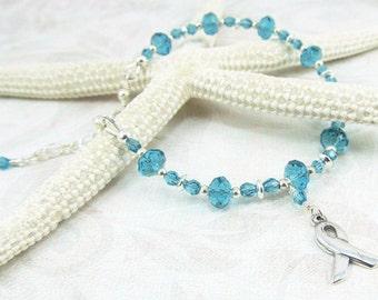 Teal Ovarian Gynecologic Cancer Silver Ribbon Adjustable Bracelet