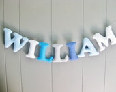 Nursery Wall Letters / Baby Name Banner / Felt Personalized Bunting / Hanging Kids Room Garland / Custom Decor Baby Shower Gift - Mulitcolor