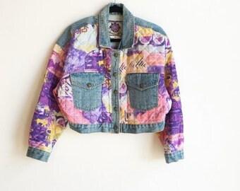 Vintage 80s Cropped Multicolor Quilted Denim Jacket / 1980s Print Jean Jacket