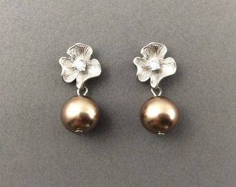 Pearl Earrings With Matte Silver Flower With Cubic Zirconia And Bronze Swarovski Crystal Pealrs