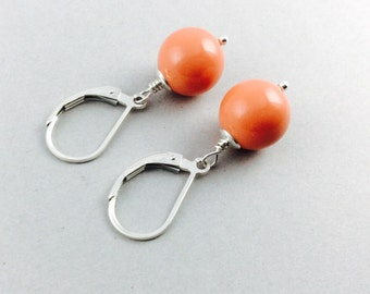 Pearl Earrings In Sterling Silver With Coral Swarovski Crystal Pearls