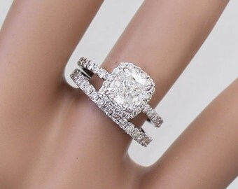 14k White Gold Cushion Cut Forever One Moissanite and Diamond Engagement Ring And Band 4.00ct