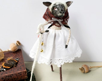 Nursery rhyme Little Bo Peep black sheep hand made ooak spun cotton art doll ornament figurine