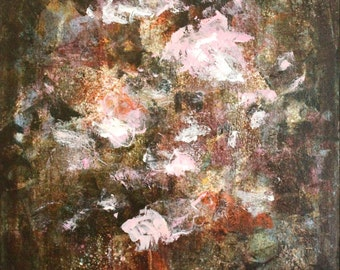 Abstract Painting Floral painting Flower painting brown peony pink green Dream With Me  20 x 24   Swalla Studio