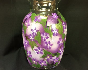 Hand Painted Glass Jardin Vase - Raining Violets on Island Blossoms Lilac