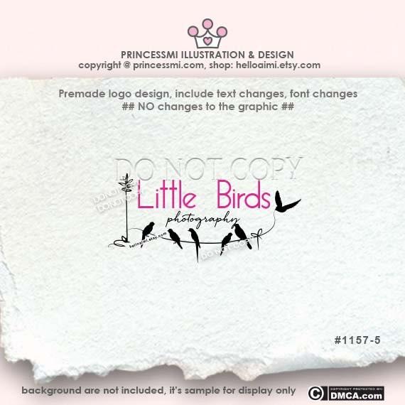 Custom Premade Logo Design - Cute little birds logo photography logo business logo by princessmi 1157-5
