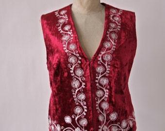 Slovakian Vest Vintage Red Velvet Folk Costume Gypsy White Embroidery
