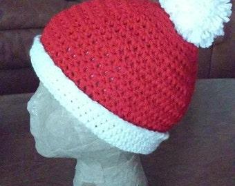 Beanie - Red and White Santa Beanie With Pompom