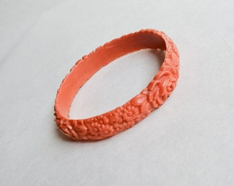 1930s Coral celluloid floral moulded bangle / 30s carved look early plastic bracelet