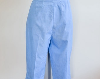 1950s 60s Sky blue cotton Catalina Capri pants / 1960s summer cropped trousers - M