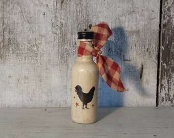 Primitive Country Rooster Bottle,Rooster & Stars Bottle,Painted Rooster,Country Rooster,Primitive Decor,Country Decor,Nip Bottle