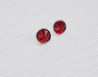 Red Stud Earrings, Red Earrings, Red Studs, Red Acrylic Studs, Ruby Red, Faceted Studs, Acrylic Crystal Studs, Silver Studs, Stud Earrings