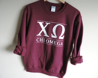 New Chi Omega Maroon Stripe Crewneck Sweatshirt // Size S-XL // You Pick Color