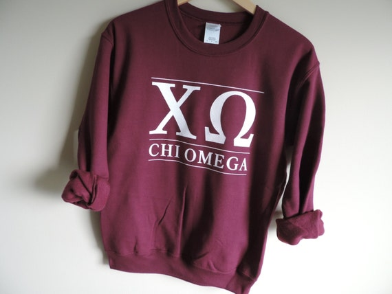 New Chi Omega Maroon Stripe Crewneck Sweatshirt // Size S-3XL // You Pick Color gYmFiZY6