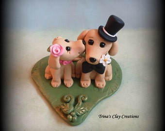 Wedding Cake Topper, Custom Cake Topper, Yellow Lab, Puppy Cake Topper, Dog, Polymer Clay, Keepsake
