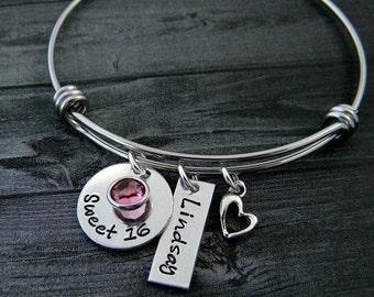 Sweet 16 / Sweet 16 Bracelet / Wire Bangle Bracelet / Sweet 16 Gift / Personalized / Charm Bracelet / Hamd Stamped