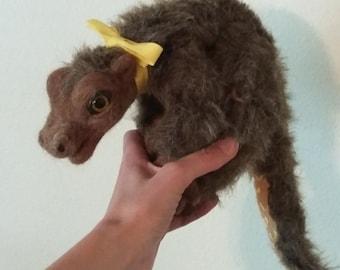 floppy dragon brown plush needle felted toy