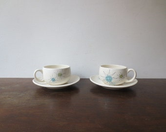 Pair of Franciscan Starburst Cup and Saucer, 4 pc