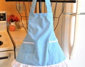 Toddler Little Girls Gingham Apron in Teal