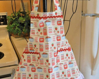 Little Girl's Retro Vintage Style Apron with Strawberry Jam MADE TO ORDER