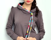 grey hoodie sweater - retro dots