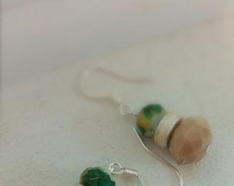 Multi-colored and tan beaded earrings